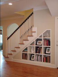 shelves under stairs | cottage redo | Pinterest