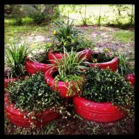 tire flower garden painted tire flower bed gardening