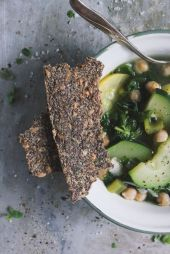 Summer Squash Soup with Herb Seeded Crispbread - With Food + Love @withfoodandlove