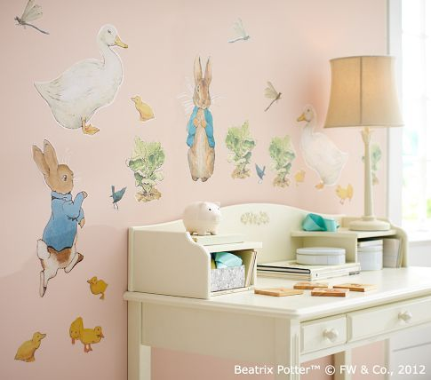 Baby Girl Bunny Wallpaper Pottery Barn Kids Peter Rabbit Wall Decals 19 99 On Sale