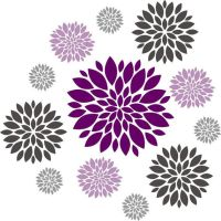 Flower wall decal - Set of 12 Flower Wall Decals - Vinyl ...