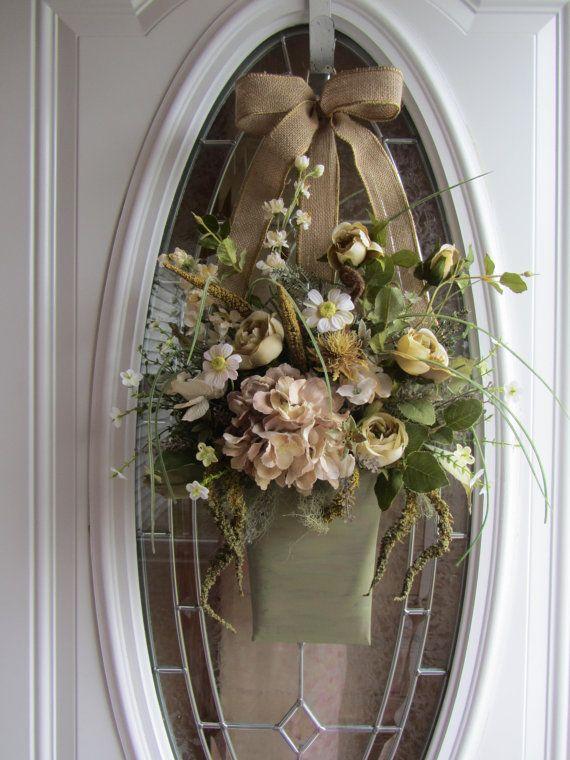 Front Door Wreath, Summer Wreath, Wall Pocket, Shabby Chic