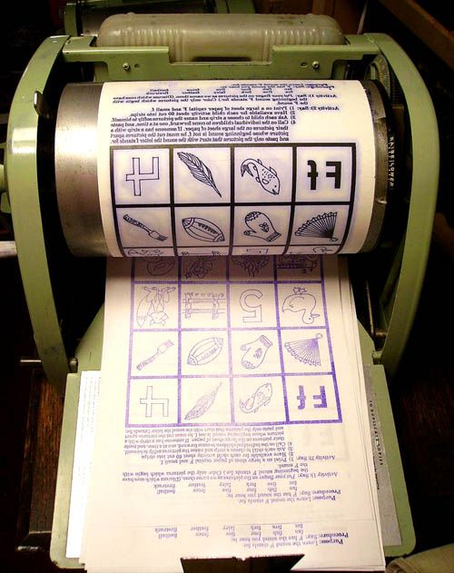 Mimeograph Machine! Can you smell the ink? Sometimes they would still be damp when given to us!