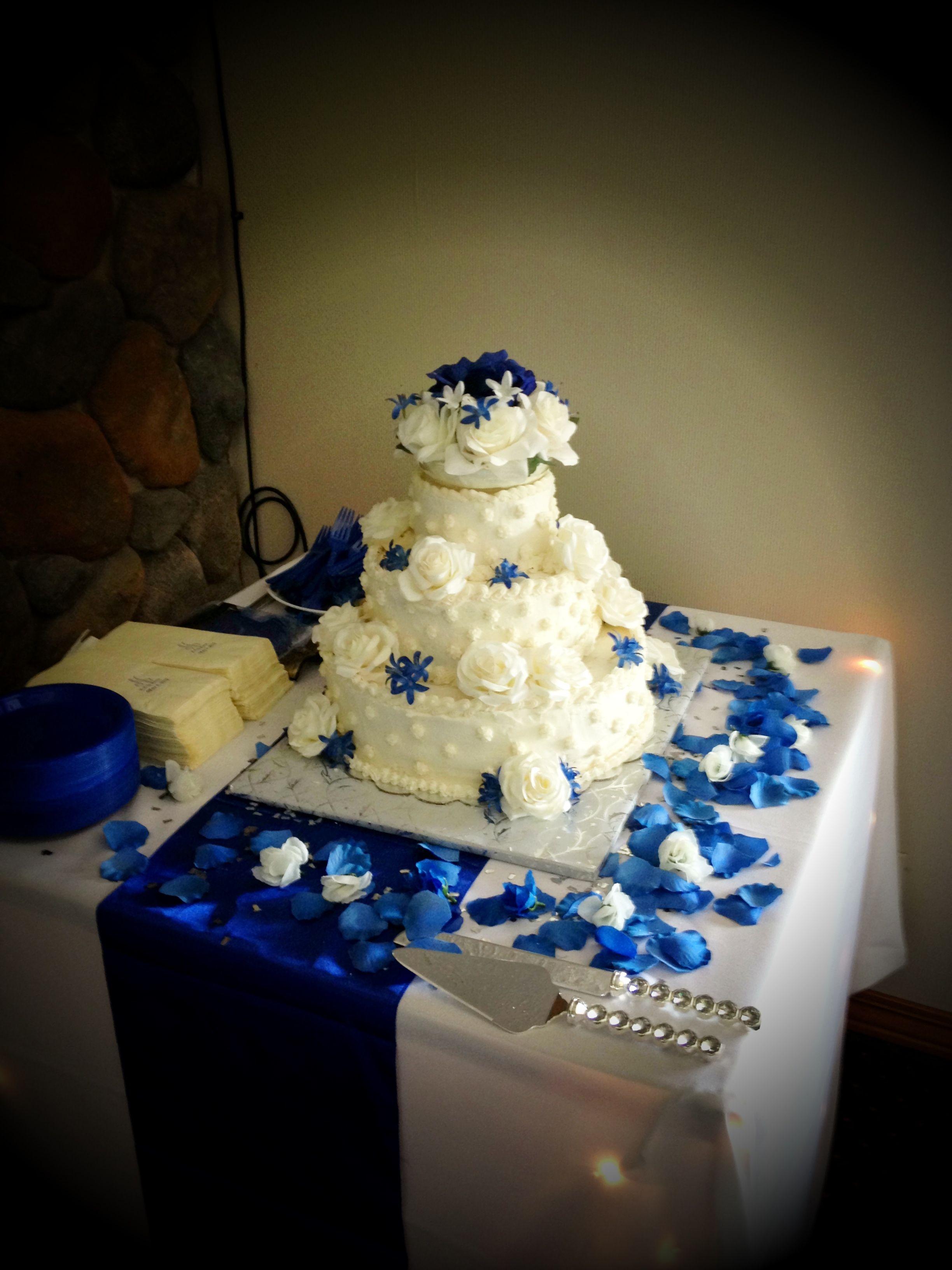 Royal Blue And Ivory Wedding Cake