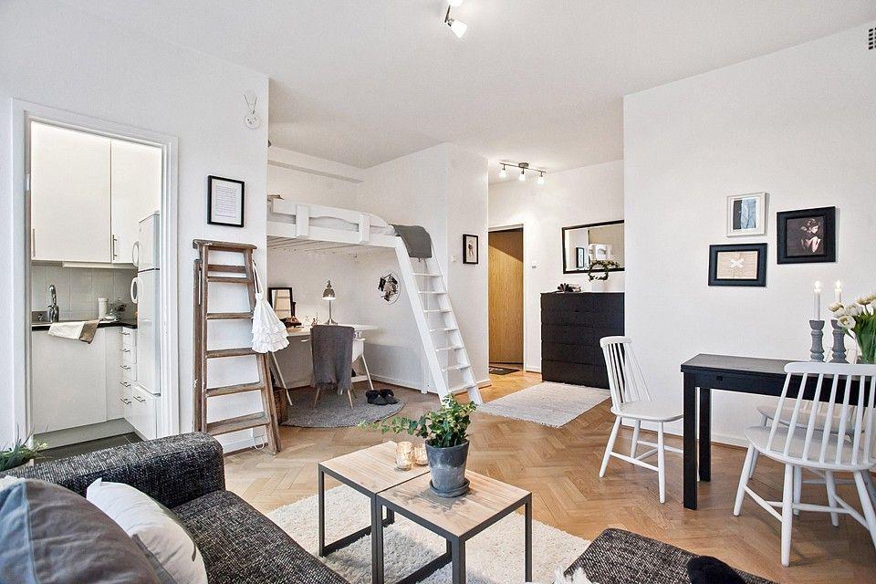 Studio apartment with loft bed  Appartement  Pinterest
