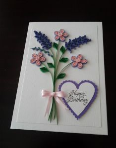 Quilling card paper quilled personalized lavender spray doily mothers day birthday anniversary handmade by enchanted on also rh br pinterest