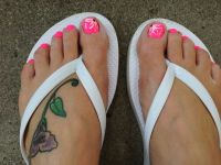 Toe nail flower design.
