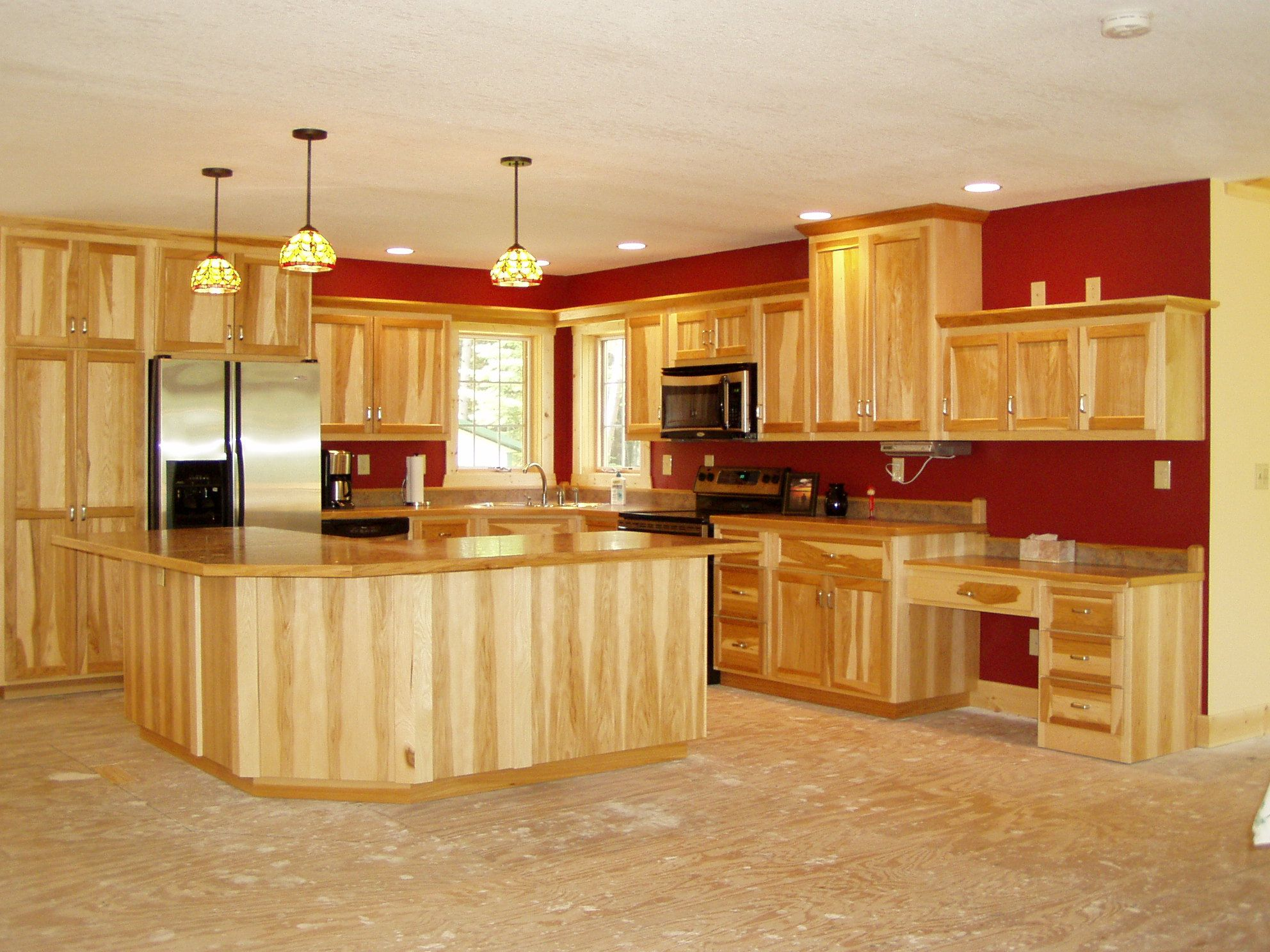 rustic hickory kitchen cabinets banquette table home design wishful thinking