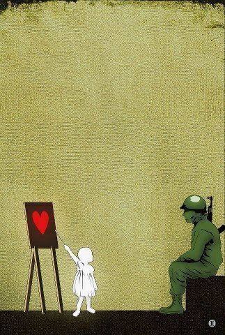 Banksy, how to teach a soldier about heart?