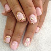 light pink gel nails nail art