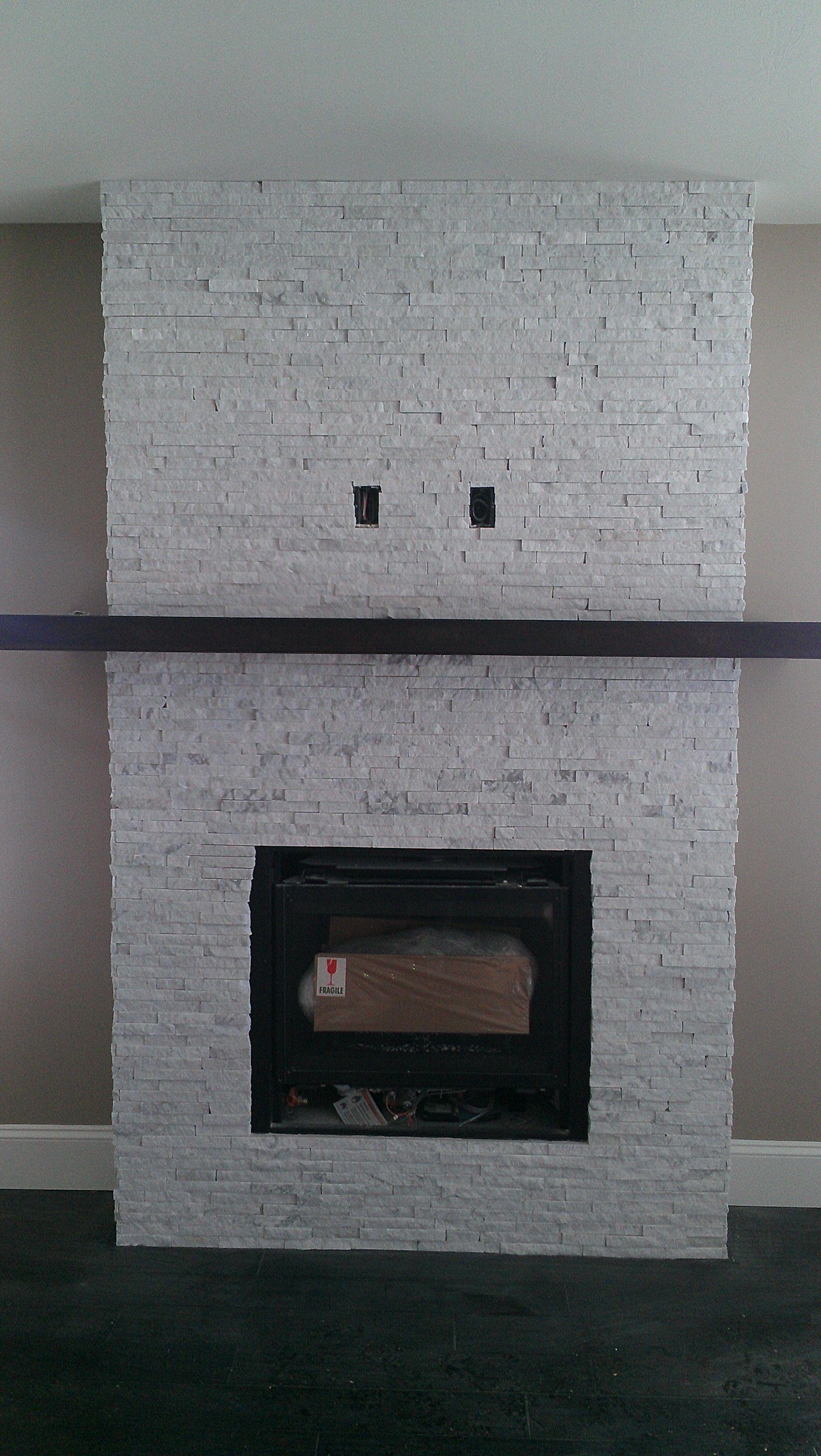 Marble Ice split stone veneer fireplace  Recycled Granite  Pinterest
