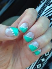 diagonal teal nail design nails