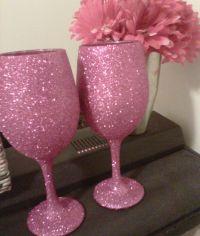 Glitter wine glasses   Diy wine glass decorating   Pinterest