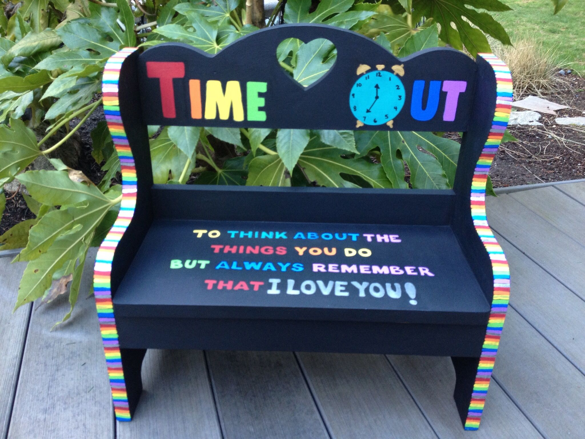 kids time out chair office lowes colorful bench painted children 39s