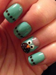 mint and brown owl nail art nails