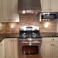 Stone Backsplash Kitchen 60 Inch Sink Base Cabinet Tumbled New Ideas Pinterest