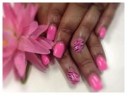 young nails acrylic neon pink zebra