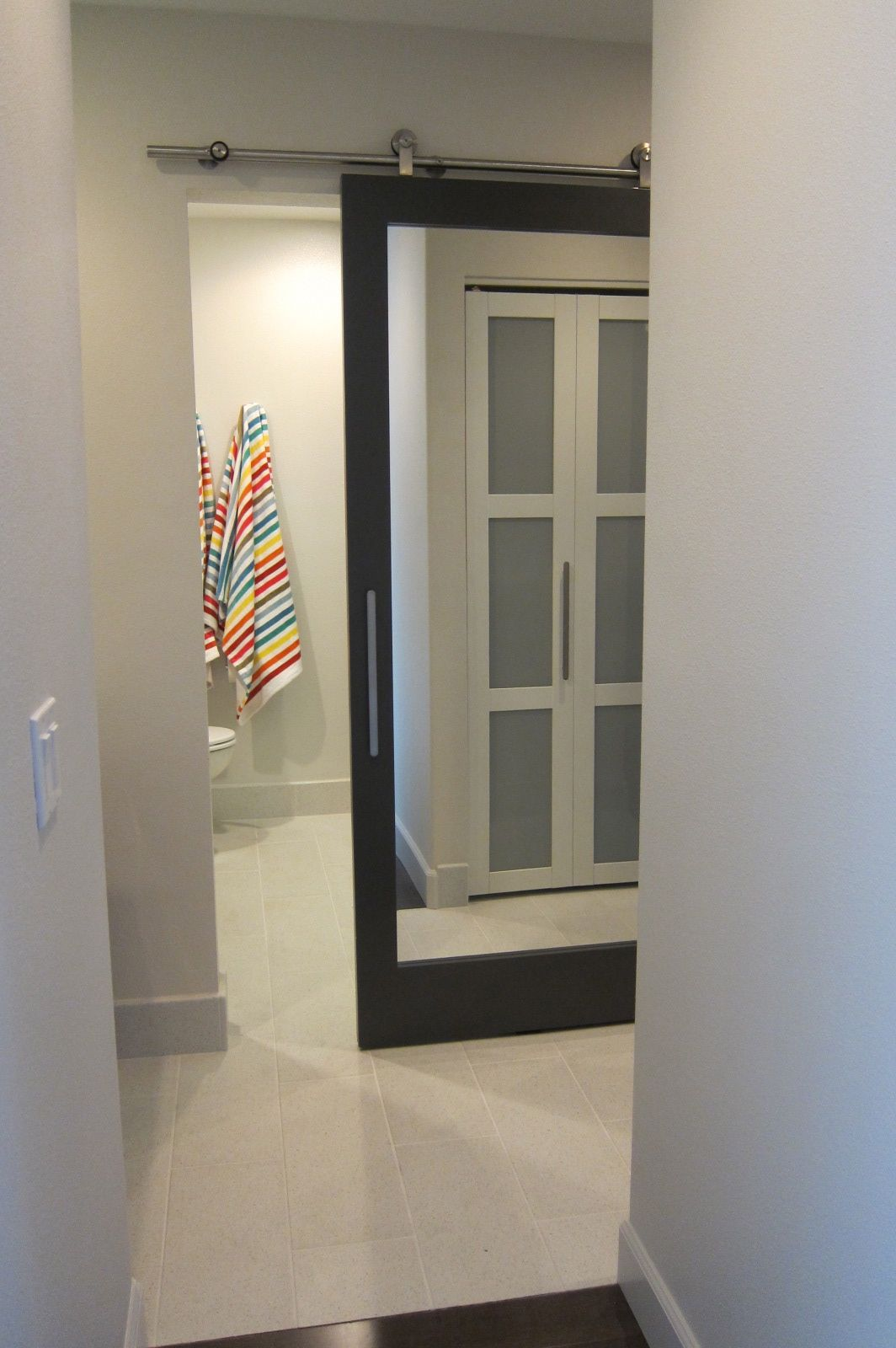 Sliding bathroom door with mirror  For the Home  Pinterest