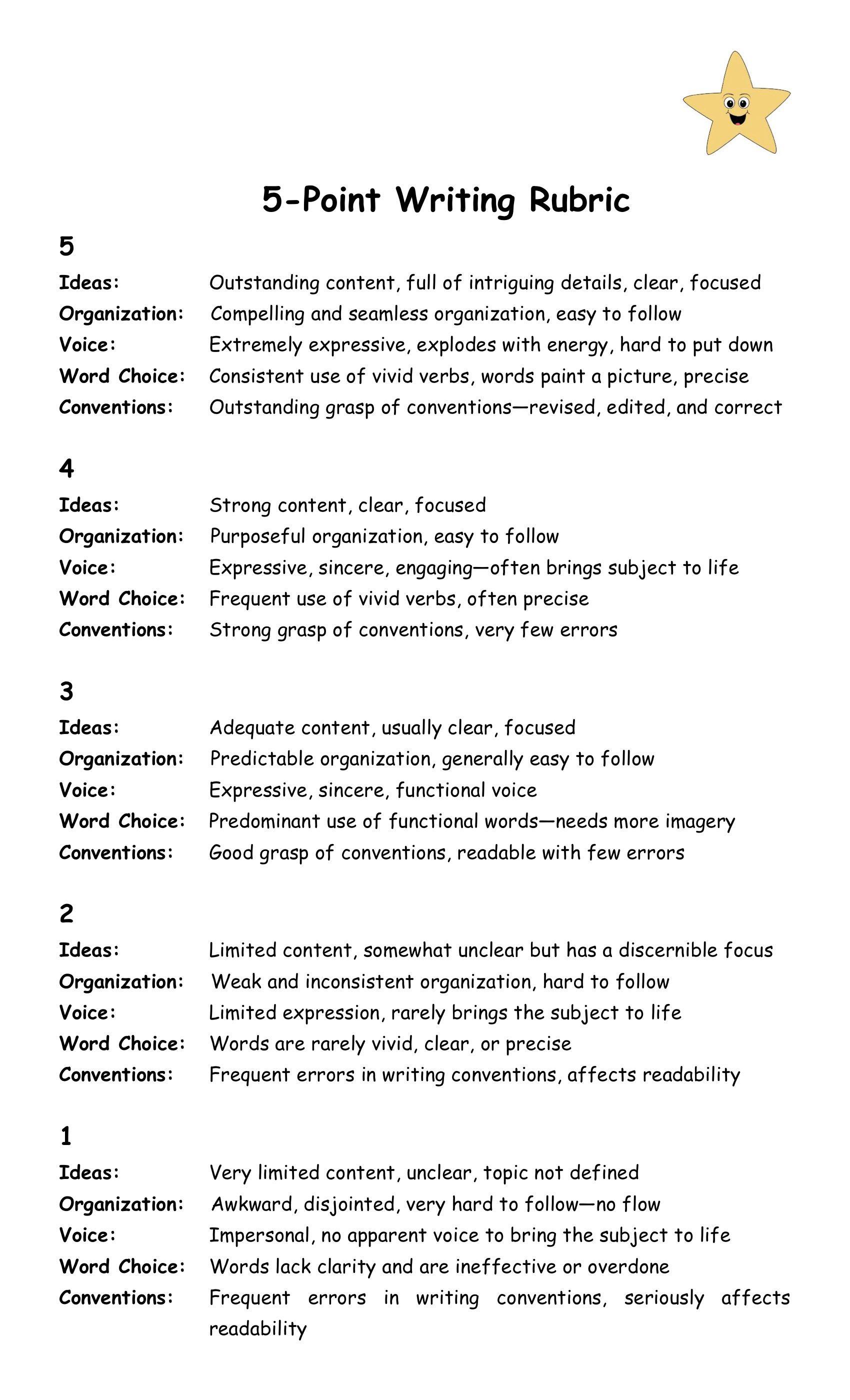 5 Point Essay Rubric