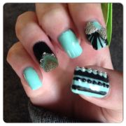 cutest black and teal gel nails
