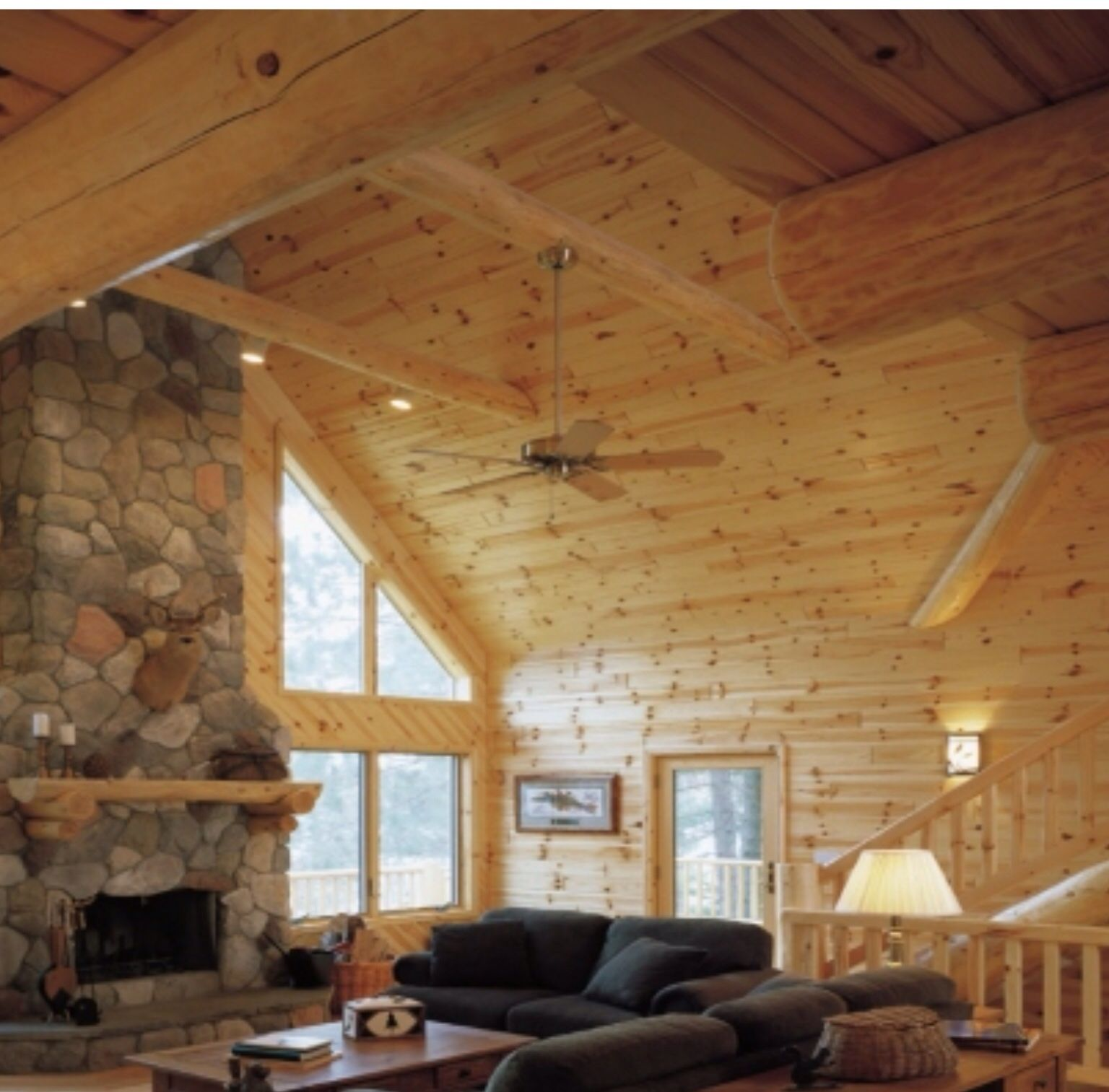 Knotty pine walls and ceiling