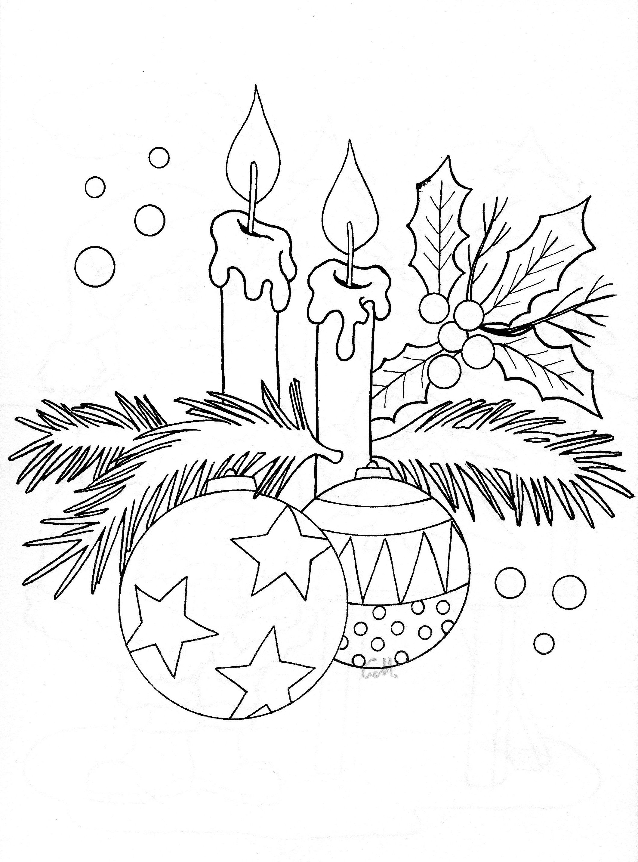 Free coloring pages of candles and holly