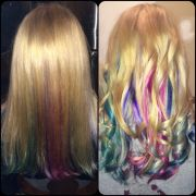 rainbow hair with blonde streaks