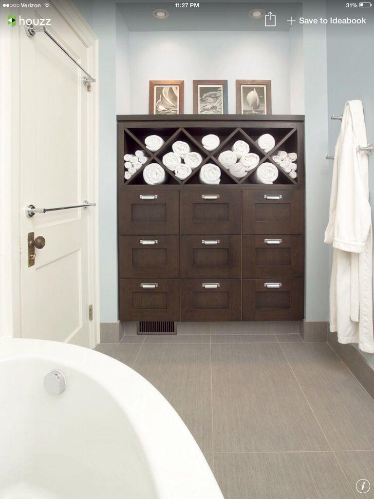Houzz  Bathroom towel cabinet  home decor  Pinterest