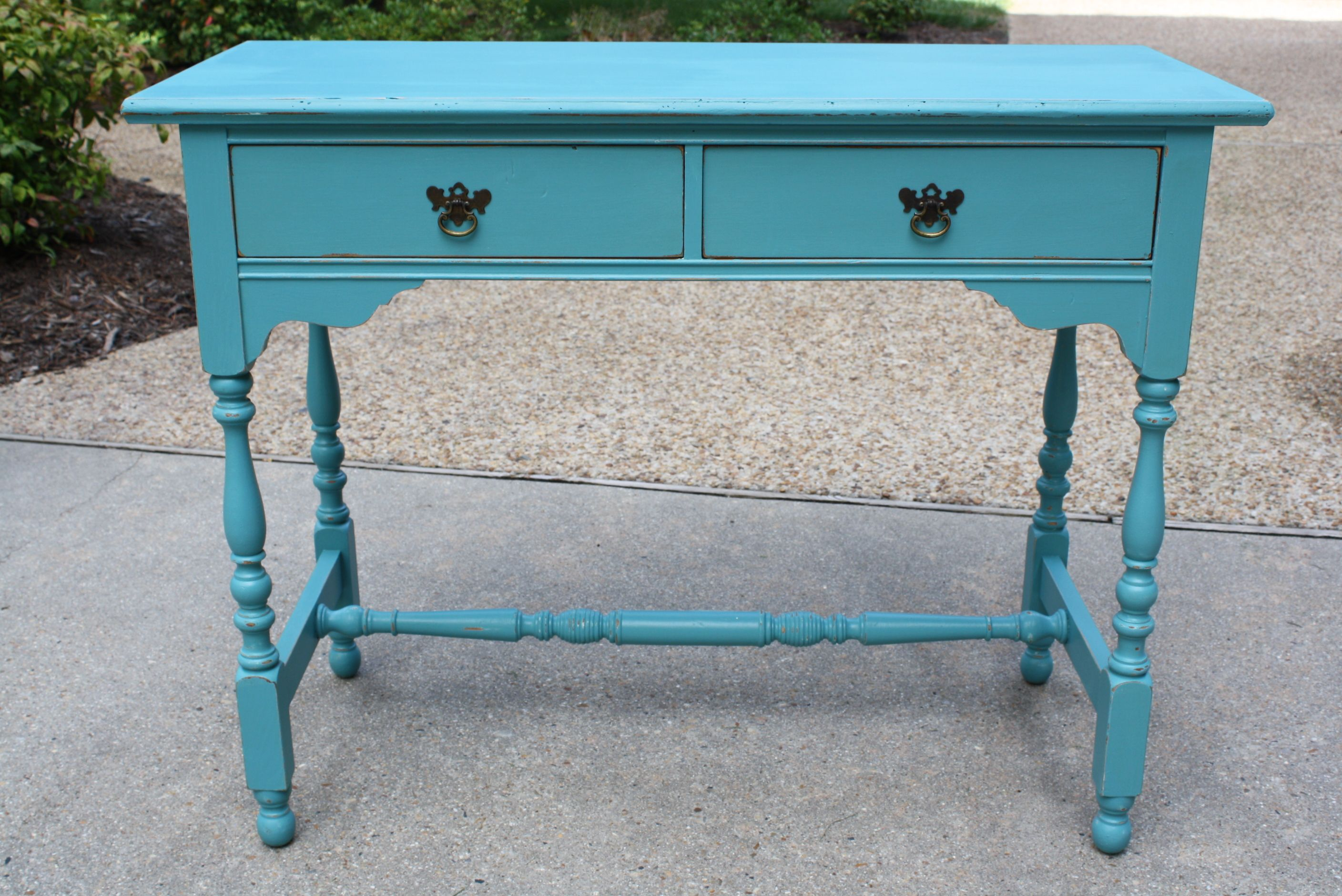 Turquoise and Distressed Writing Desk  Not Too Shabby