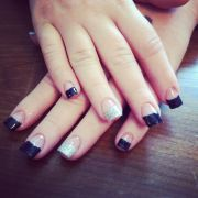 black and silver glitter tips gel