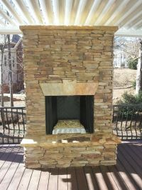 Ventless Stacked Stone Outdoor Fireplace | Fireplaces and ...