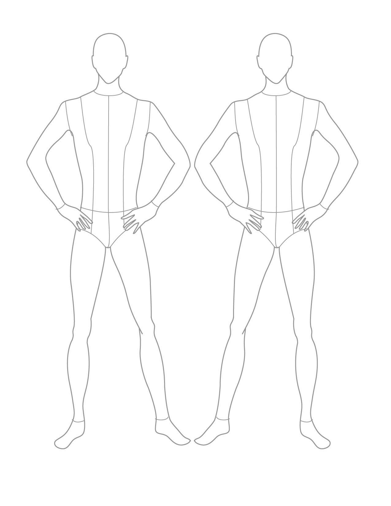 Fashion sketch templates front