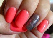 coral and silver shellac nails
