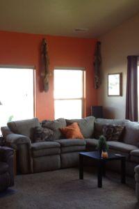 Orange accent wall | Living room | Pinterest