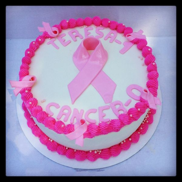 Breast Cancer Pink Ribbon Cake