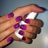 Purple glitter gel nails | Nails | Pinterest