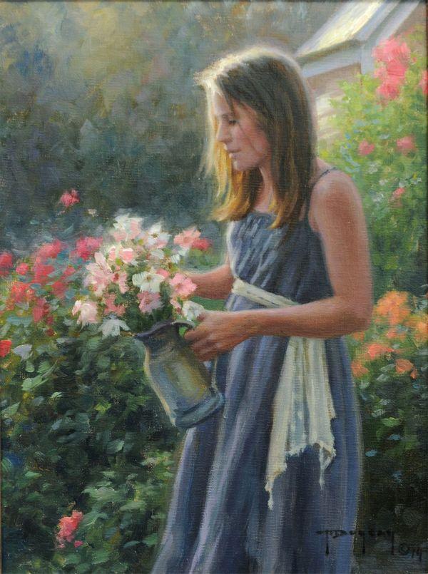 """flower Girl"" Robert Duncan 12"" X 9"" Oil Panel. Original Painting"