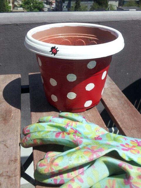 hand painted diy ladybug flower pot gardening