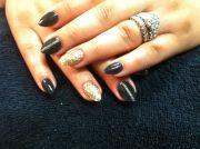 acrylics black gold stiletto chain