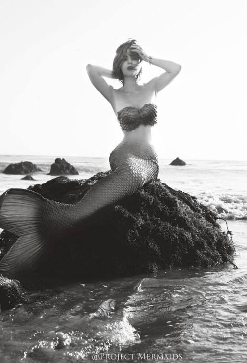 mermaid black and white image rock ocean sea