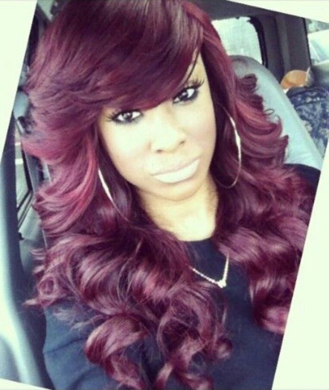Burgundy Hair Weave With Bang