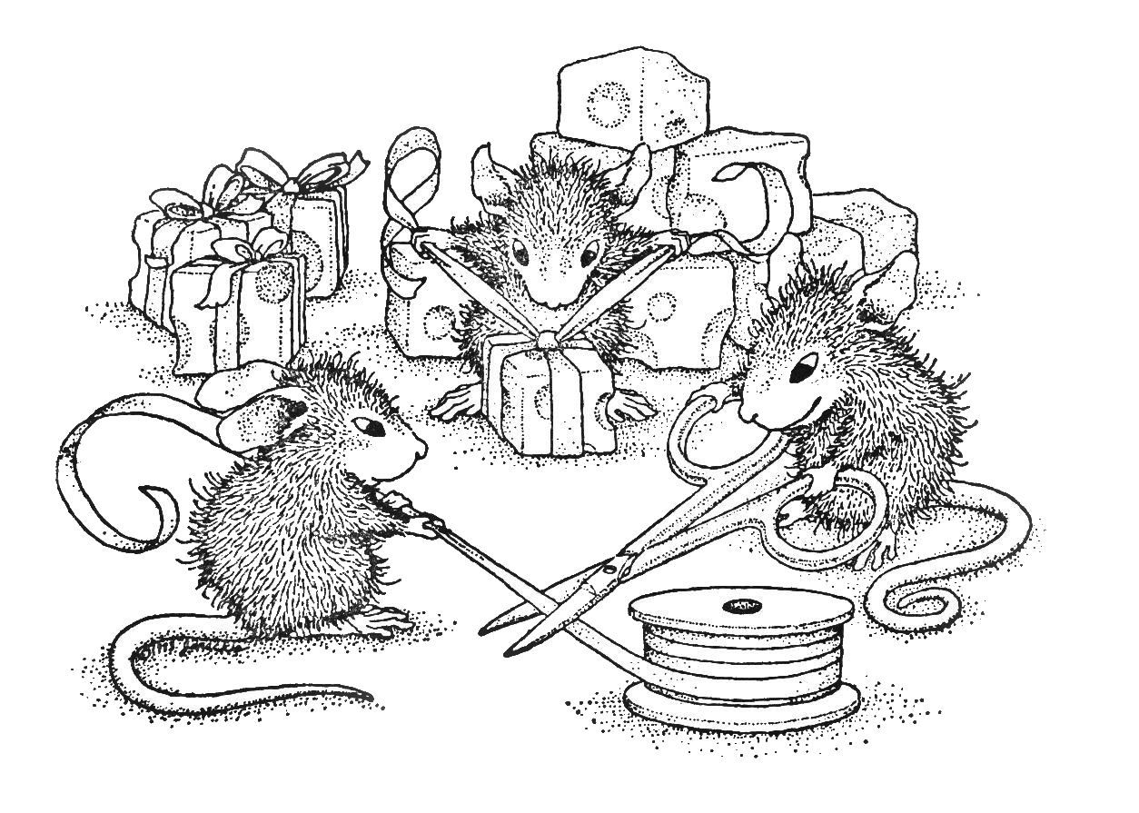Coloring House Mouse Stamps Sketch Coloring Page