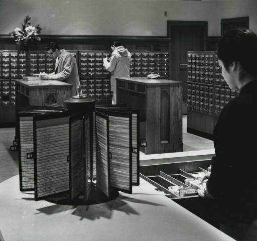 Card Catalog in O'Shaughnessy Library, later to become part of the O'Shaughnessy-Frey Library Center, University of St. Thomas [1960]