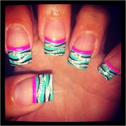 colorful zebra nails with french