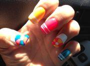 summer nail art. beach ball