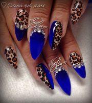 blue leopard print & rhinestone