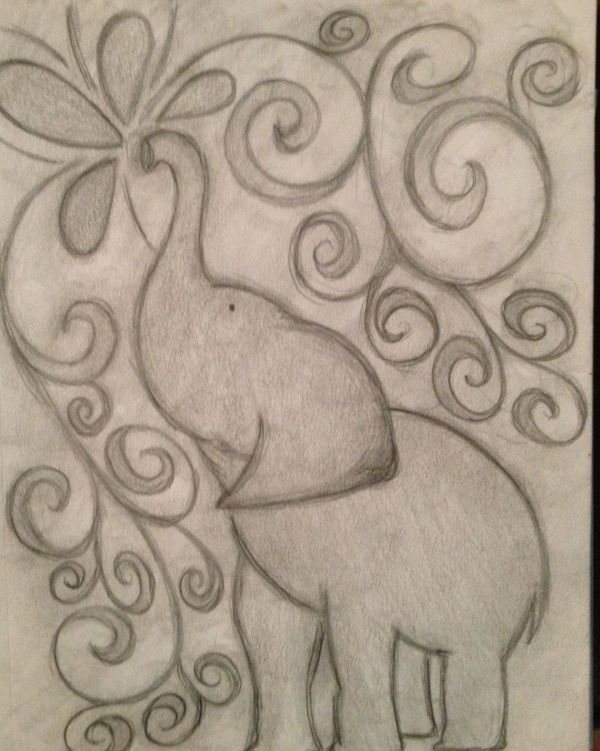 Inspired Elephant Pencil Drawing Doodly Woodles