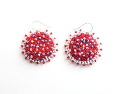 Red white and blue crochet and beaded SPRING earrings by bibaiba