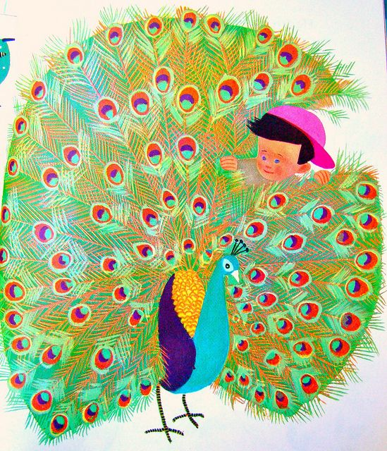 Pet peacock by art.crazed, via Flickr  illustrated by Aurelius Battaglia, 1950