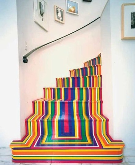 painted stairs, rainbow, home decor